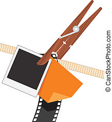 clothespin, con, foto, objetos