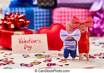 Clothespin couple on Valentine's Day.