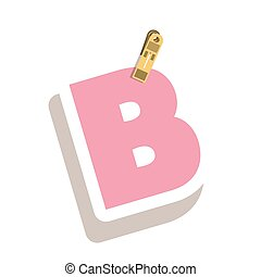 Clothespin holding relive letter B vector illustration