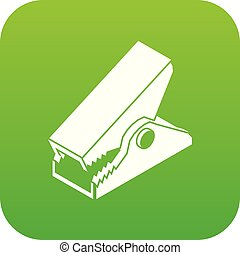Clothespin icon green vector isolated on white background