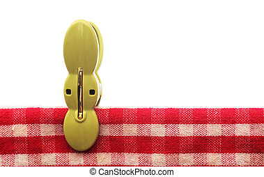 Clothespin in a red cotton cloth