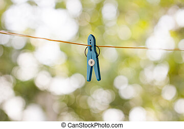 clothespin on a rope