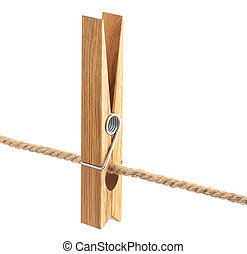 Clothespin on rope isolated on white background, with clipping path
