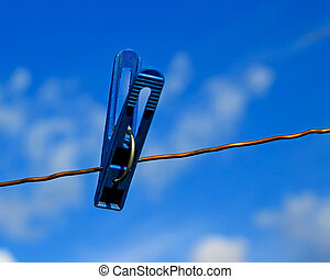 Clothespin on wire