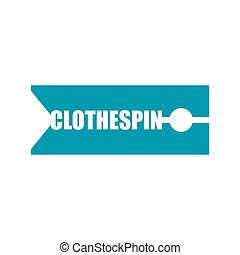 Clothespin sign emblem Lettering. Clothes peg for clothes typography.