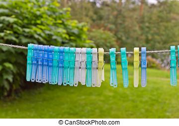 clothespins, 在上, a, 绳索