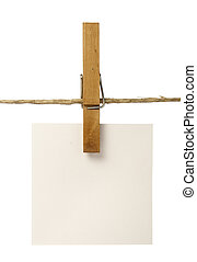 clothespins and notepads - close up of postit reminders and...