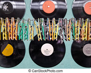 clothespins and vinyl records