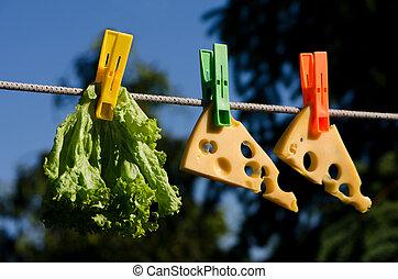 clothespins, cibo, e, cielo