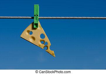 clothespins, formaggio, e, cielo