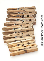 Clothespins isolated on white background