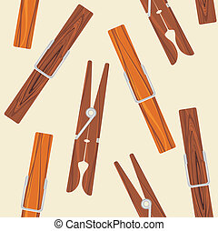 Wooden clothespins on the beige background. Vector illustration