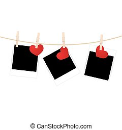 clothespins with photos and hearts