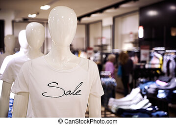 Clothing and retail store-view of shop with t-shirt