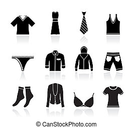 clothing Boutique and fashion icons - vector icon set