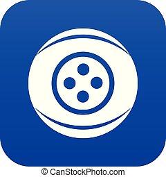 Clothing button icon blue vector