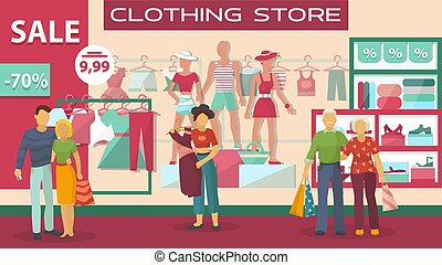 Clothing buyers on sale at store, people young and adults shop at boutique on background of showcase vector flat illustration.