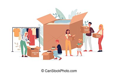 Clothing donation with volunteers and box, flat vector illustration isolated.
