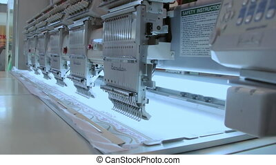 Clothing dress production in the textile industry. Automated...