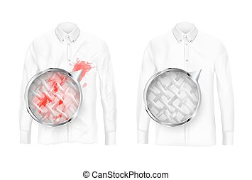 Clothing fabrics deep cleaning vector concept - Pare of...
