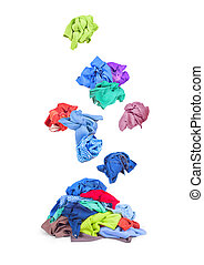 Clothing falls on pile of clothes