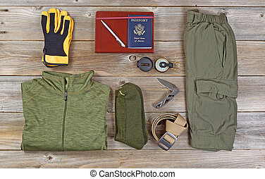 Clothing for Hiking on rustic wooden boards