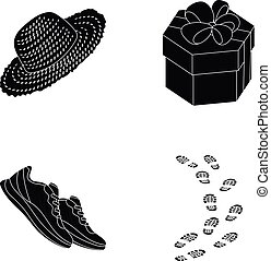 clothing, gift and other icon in black style. sport, offense icons in set collection.