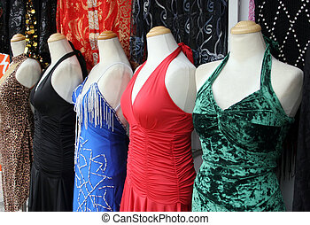 Clothing - Glamorous dresses on display