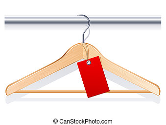 clothing hanger with red tag
