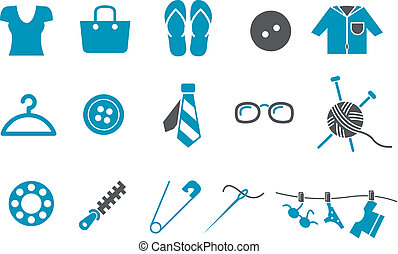 Clothing Icon Set - Vector icons pack - Blue Series, ...