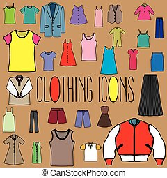 icons clothing The White Stripes In a green circle on the orange background. In vector format