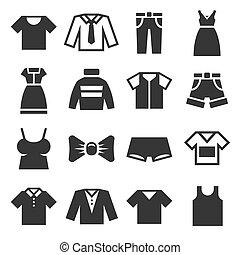 Clothing Icons Set on White Background. Vector