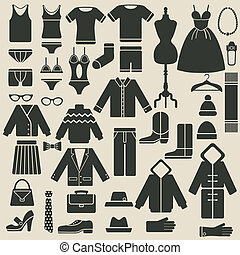 clothing icons - vector illustration