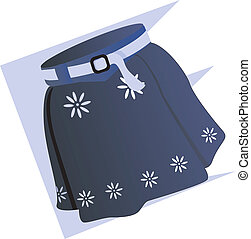 Clothing - Illustration of blue ladies skirt with white belt