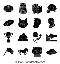 clothing, industry, animals and other web icon in black style. mineral, computer, police icons in set collection.