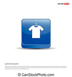 Clothing item on hanger icon - 3d Blue Button