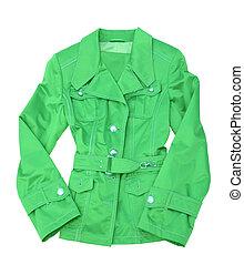 clothing. woman dress. green jacket isolated on white