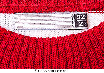 Clothing label - Close-up of clothing label with 92 size