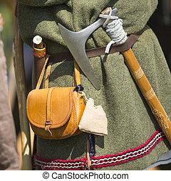 Clothing medieval reenactment, haversack and hatchet.
