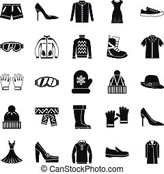 Clothing sale icons set, simple style