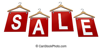 Clothing Sale Sign with classic wooden clothes hangers and...