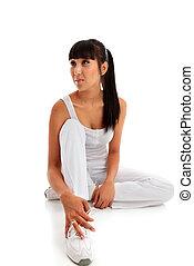 clothing., sentando, mulher, exercício aptidão, desgastar, jovem