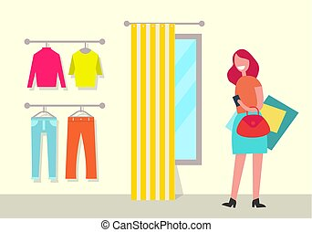 Clothing Shop and Woman Poster Vector Illustration