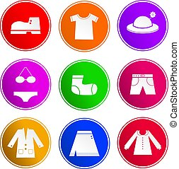 clothing sign icons - collection of clothing and apparel...