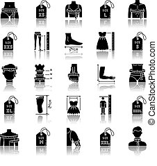 Clothing sizes drop shadow black glyph icons set. Human body measurements. Female and male dimensions and proportions parameters for apparel. Isolated vector illustrations on white space.