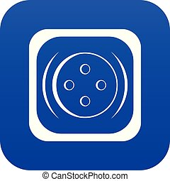 Clothing square button icon digital blue