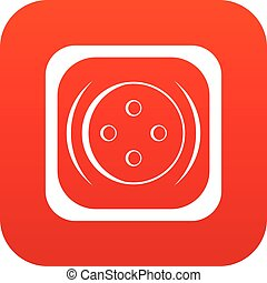 Clothing square button icon digital red