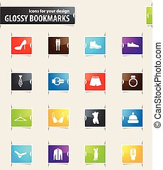 Clothing Store Bookmark Icons - Clothing Store vector...
