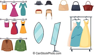 Clothing Store Icon Set - Isolated and colored clothing...