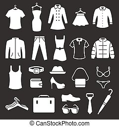 Clothing Store Icons set. White on a black background